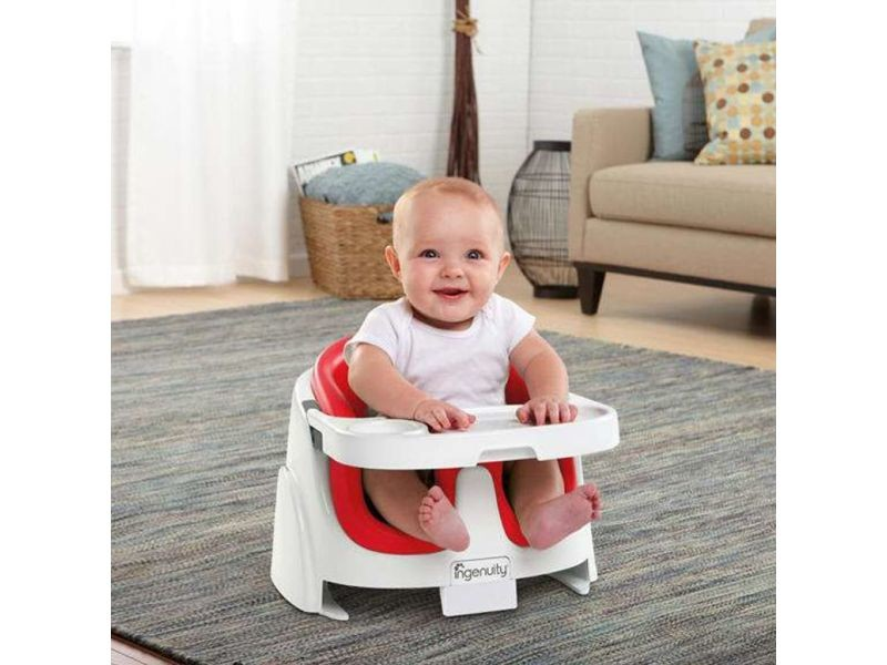 Ingenuity Rehausseur Baby Base 2 In 1 Rouge Coquelicot