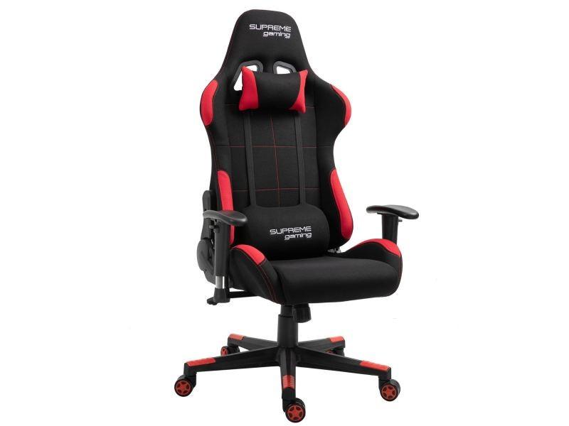 chaise de bureau gaming swift fauteuil ergonomique avec coussins siege style racing racer gamer chair revetement tissu noir rouge
