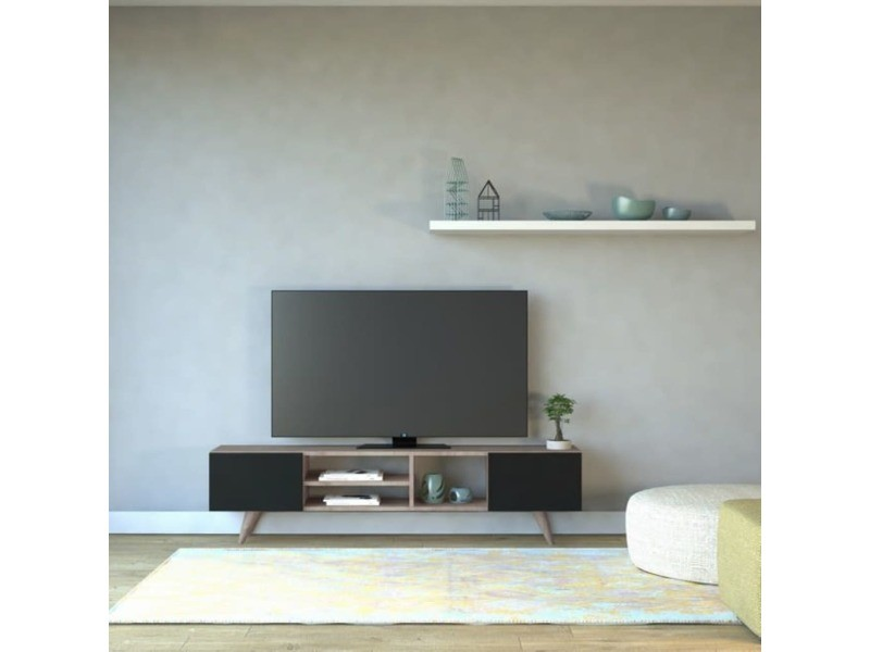 homemania meuble tv dore 160x29 7x40 6 cm noir et noyer