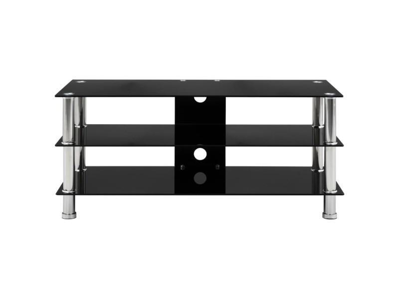 vidaxl meuble tv noir 90 x 40 x 40 cm verre trempe