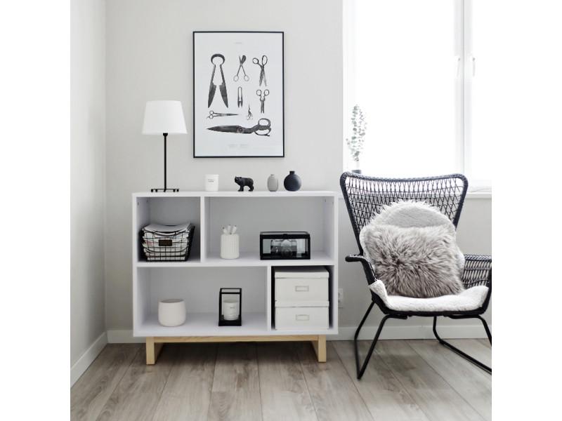 etagere basse scandinavia 100 cm blanc bois de pin