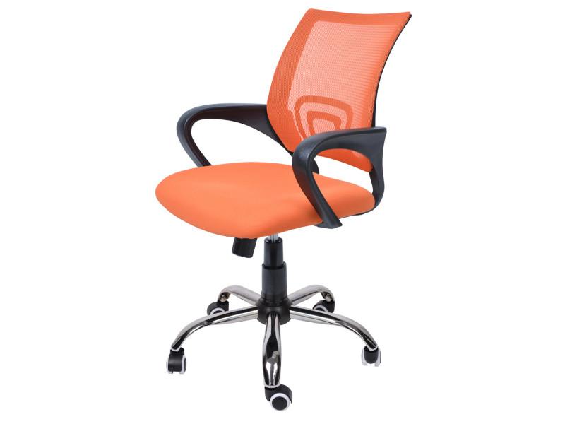 chaise de bureau orange en tissu et maille sur roulettes dim l 60 x p 49 x 88 98 cm pegane vente de fauteuil de bureau conforama