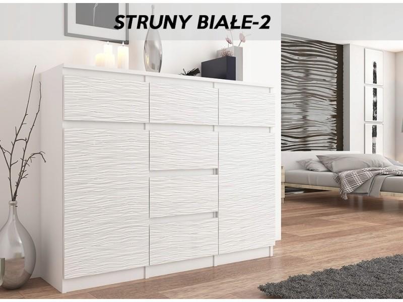monaco w2 commode contemporaine meuble rangement chambre salon 120x40x98 cm 6 tiroirs 2 portes finition gloss buffet blanc