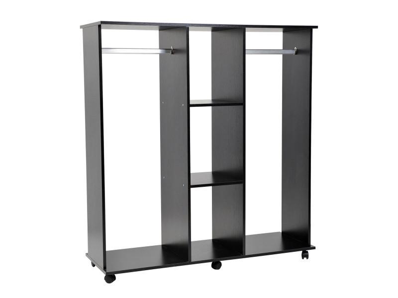 armoire penderie meuble de rangement en panneau de particule mobile avec 6 roulettes sans porte 120x40x128cm noir vente de armoire conforama