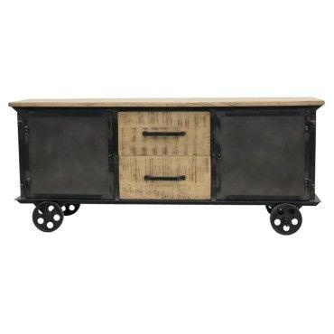 meuble tele tv enfilade bahut roulettes fer et bois campagne industriel 151 cm x 64 cm o46520031