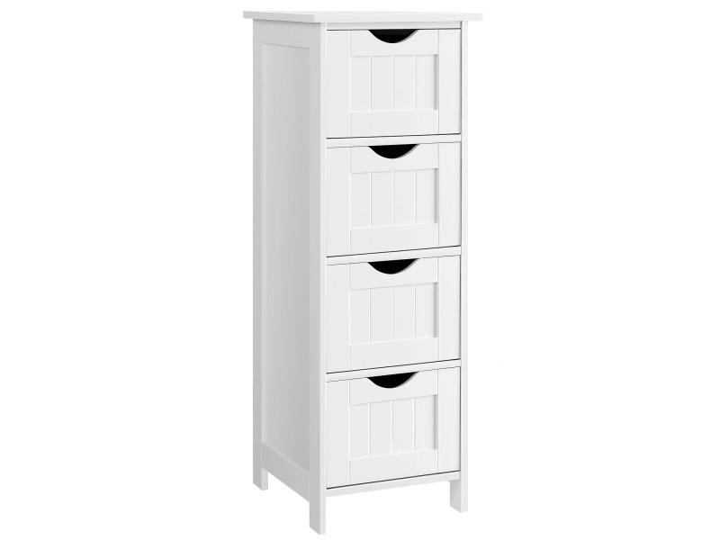 meuble de salle de bain sur pieds de vasagle meuble de rangement avec 4 tiroirs 30 x 30 x 82 cm pour salon cuisine et couloir blanc lhc40w