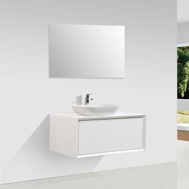 Meuble Salle De Bain Simple Vasque Palio 90 Cm Blanc Mat Vente De Salle De Bain Pretes A Emporter Conforama