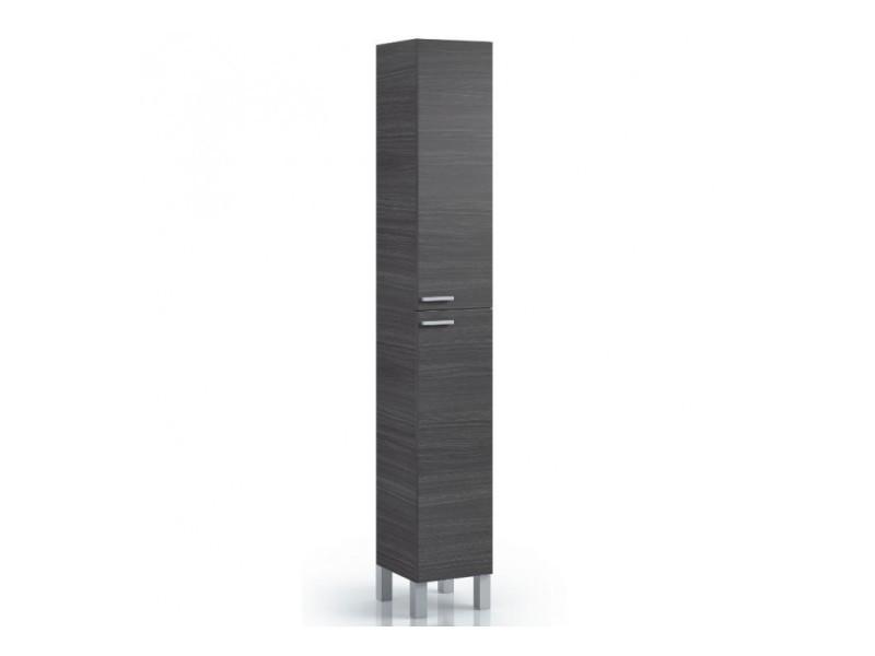 colonne salle de bain avec 2 portes coloris gris cendre 182 x 30 x 25 cm pegane
