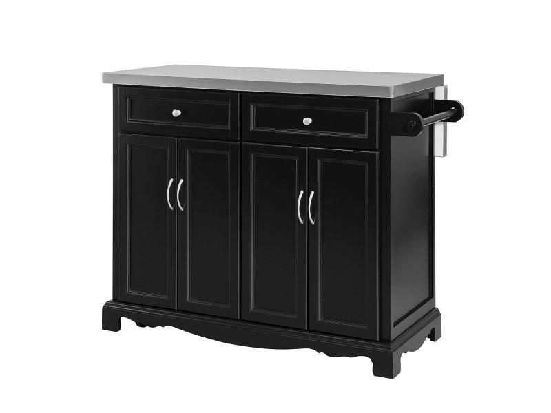 desserte sur roulettes meuble de cuisine de service roulant en bois avec plans de travail rabattable en acier inox fkw71 sch sobuy