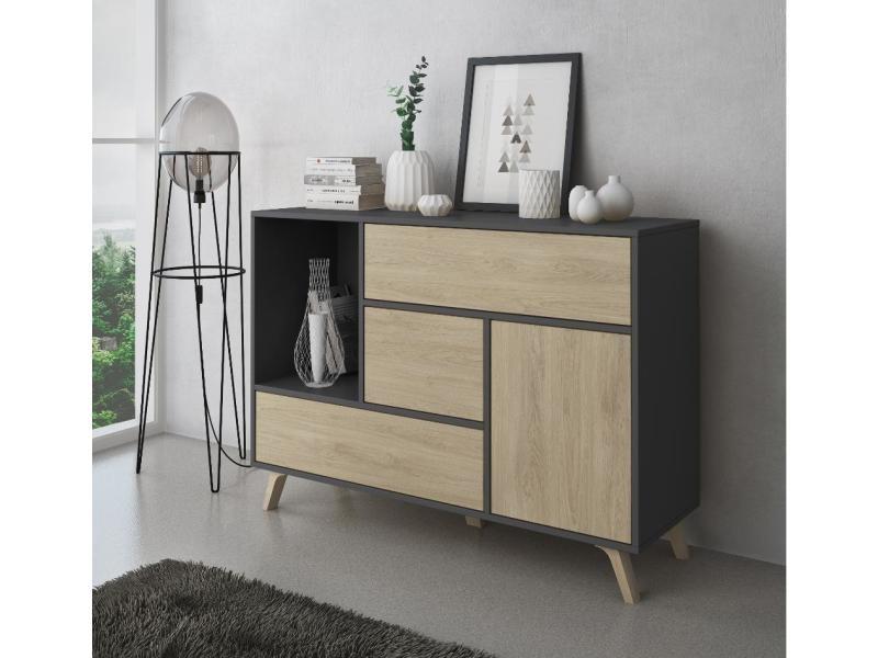 buffet de salle a manger meuble auxiliaire wind 1 porte 3 tiroirs couleur structure gris anthracite couleur porte et tiroirs puccini dimensions