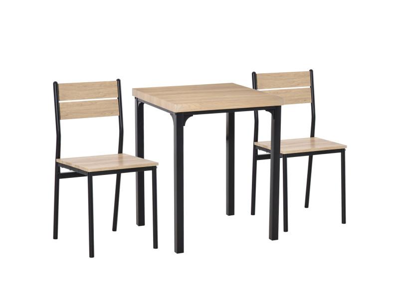table avec 2 chaises style industriel