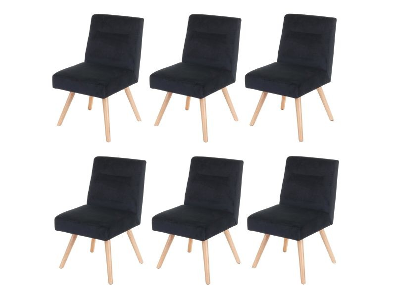 6x chaise de salle a manger hwc f38 fauteuil de cuisine design retro velours noir