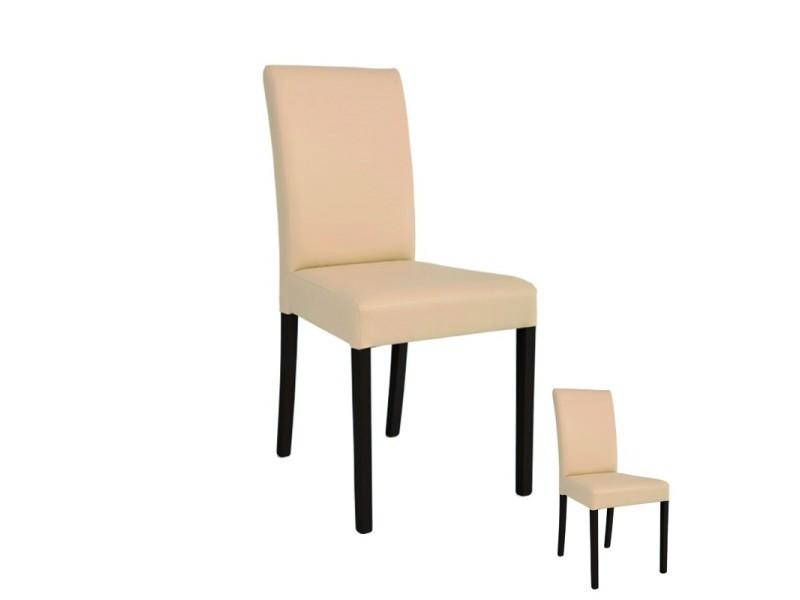 duo de chaises simili cuir beige sanio l 49 x l 44 x h 95 cm