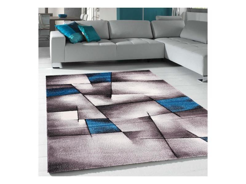 tapis design et moderne 280x380 cm rectangulaire triangula bleu grand salon adapte au chauffage par le sol