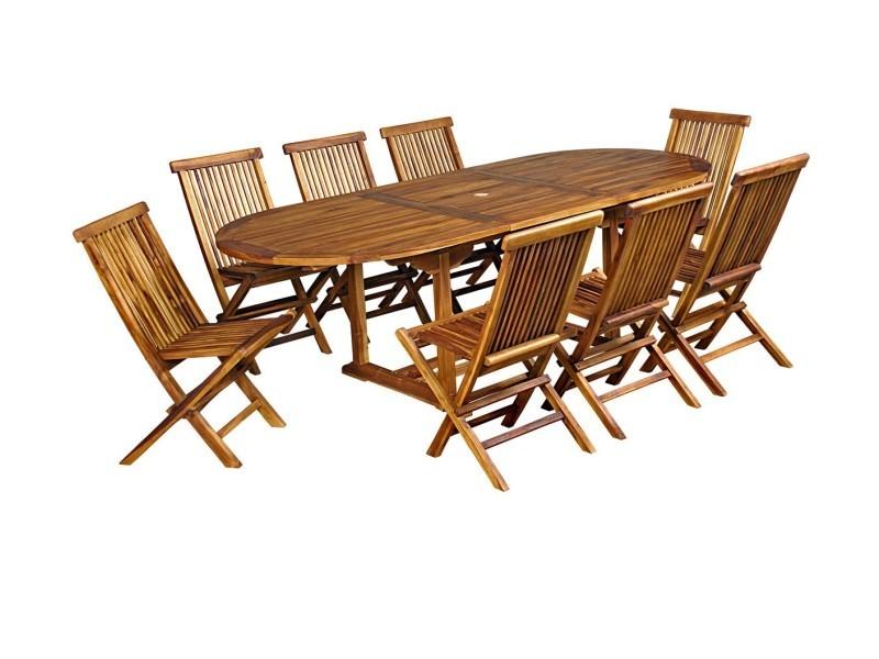 salon de jardin en teck huile pour 8 10 personnes table ovale