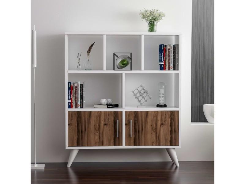 homemania bibliotheque ducky avec etageres meuble murale de rangement avec portes pour salon bureau blanc noyer en bois 90 x 22 x 105 cm