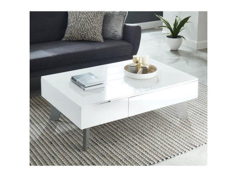 table basse zanzibar table basse transformable style contemporain laque blanc brillant avec pieds chromes l 110 x l 75 cm