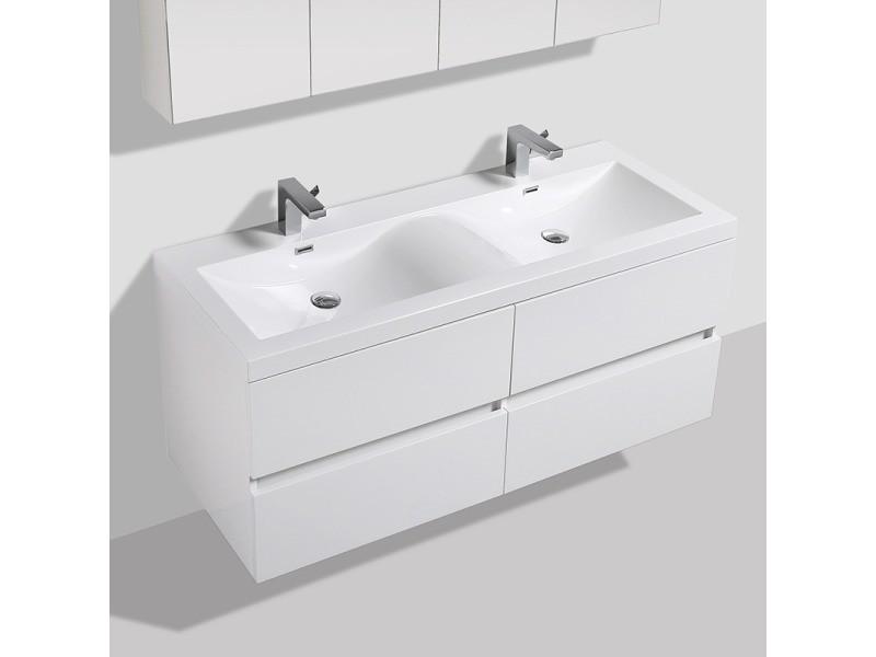 Meuble Salle De Bain Design Double Vasque Siena Largeur 144 Cm Blanc Laque Vente De Salle De Bain Pretes A Emporter Conforama