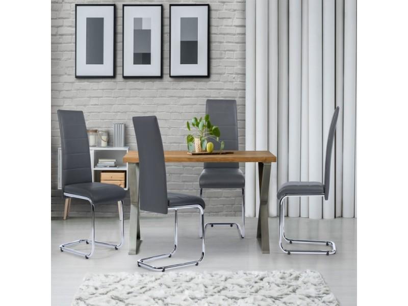 lot de 4 chaises mia grises pour salle a manger