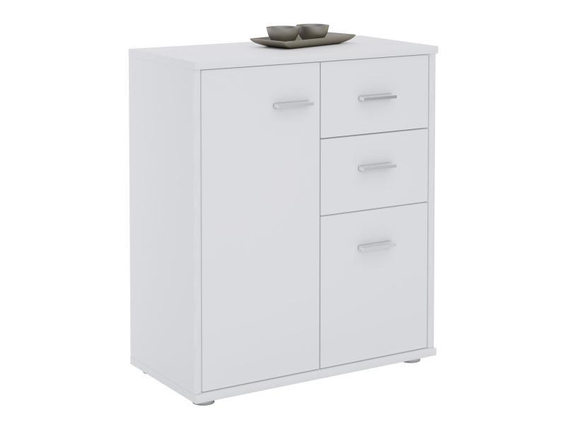 buffet remy commode meuble de rangement avec 2 tiroirs et 2 portes en melamine blanc mat