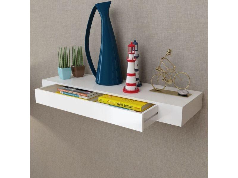 esthetique etageres ensemble bruxelles etagere murale en mdf blanc avec 1 tiroir pour dvd livres
