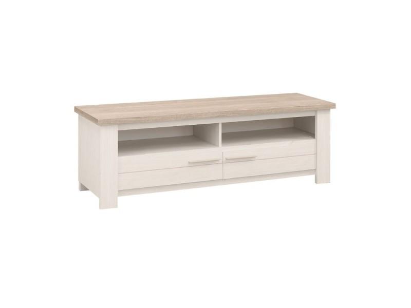 meuble tv 2 tiroirs 2 niches frene blanchi pompei l 156 x l 45 x h 51 neuf