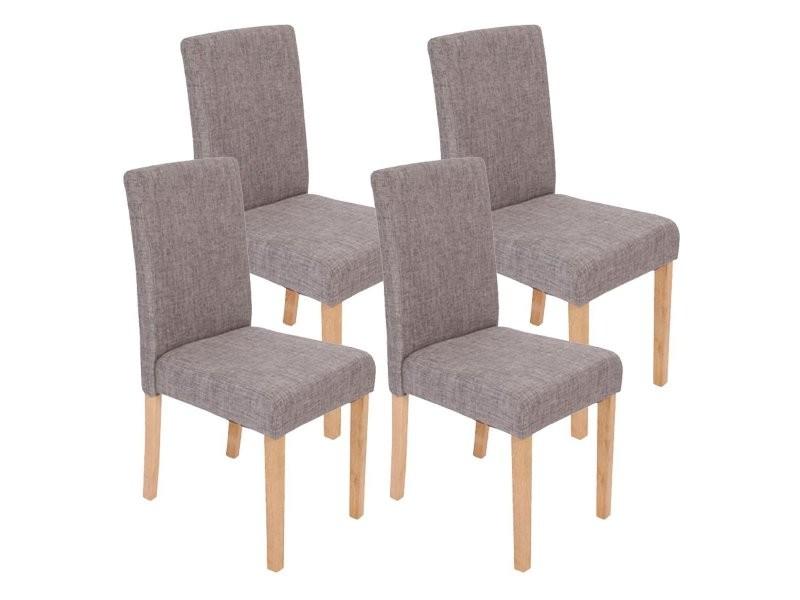 lot de 4 chaises de salle a manger en tissu gris pieds clairs cds04118