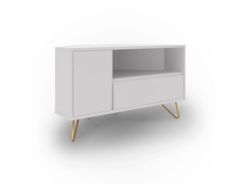 meuble tv d angle blanc darina