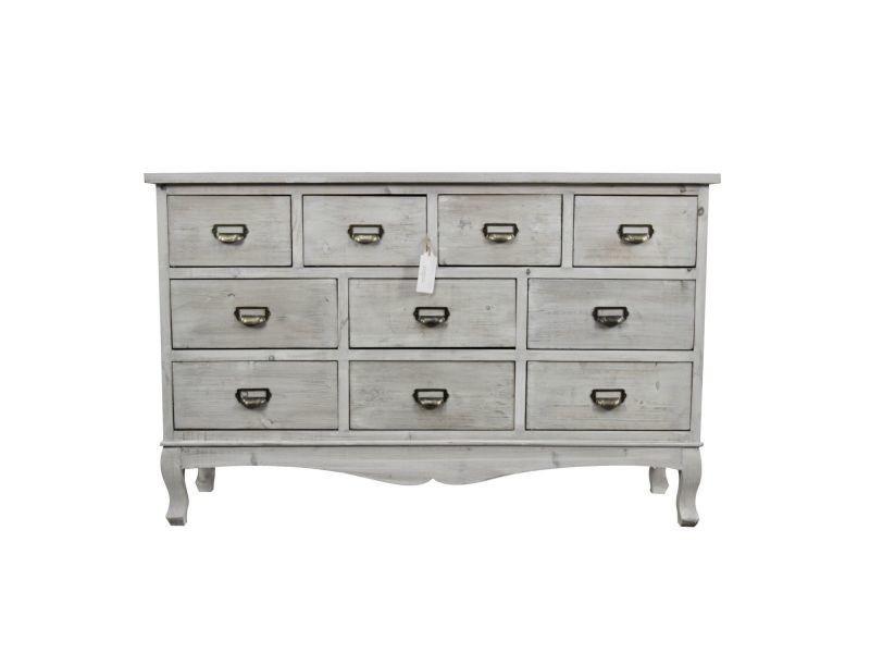 meuble semainier chiffonnier grainetier bois 10 tiroirs ceruse blanc 125x35x80cm