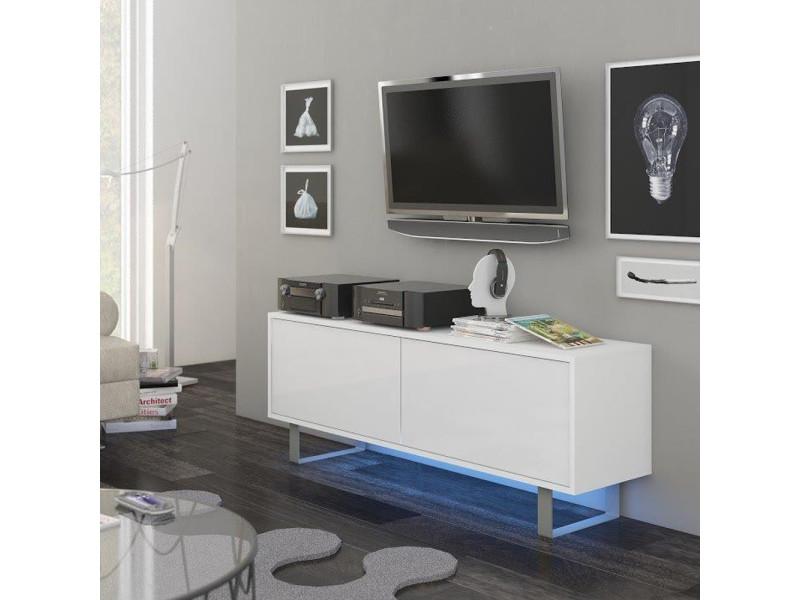 meuble tv banc tv briliant 140 cm blanc mat blanc brillant led