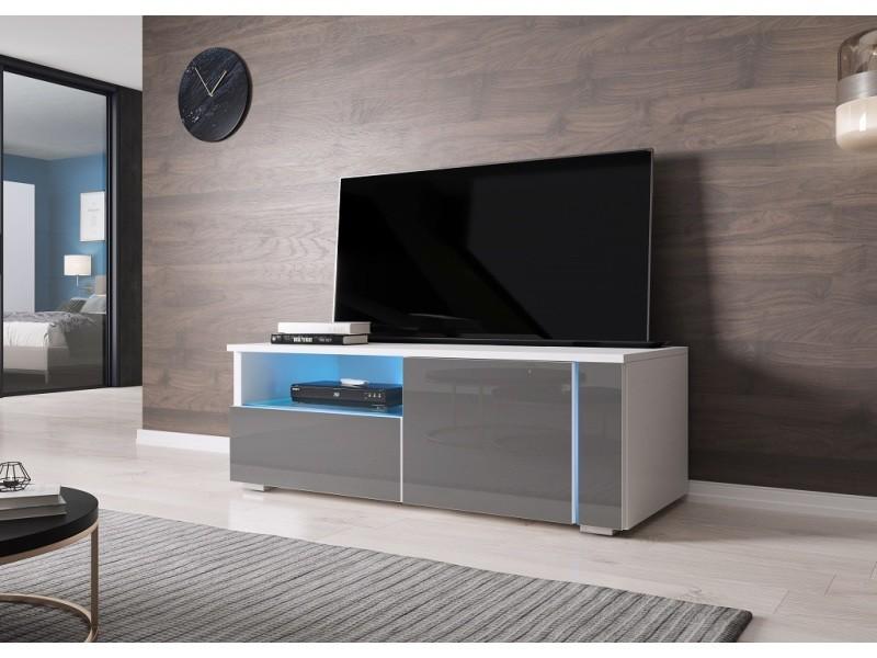 furnix meuble tv banc tv moderne helmi 100 cm blanc mat gris brillant avec led