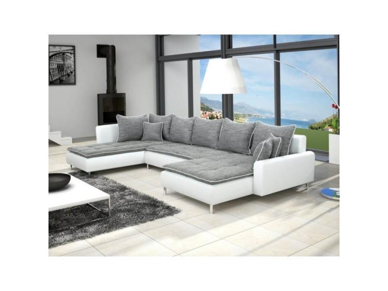 canape d angle panoramique dante 6 a 7 places gris et blanc