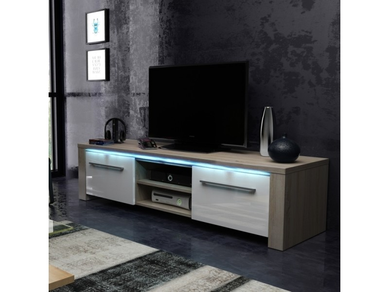 meuble tv banc tv messa 140 cm chene sonoma blanc brillant eclairage led