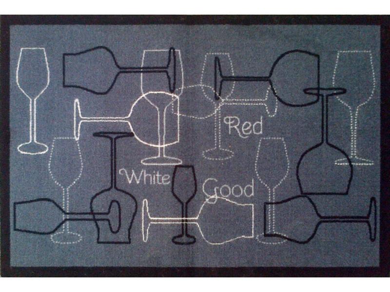 tapis de cuisine en polyamide grand cru noir dim 50 x 75 cm pegane