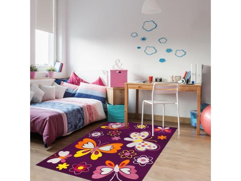 tapis enfant 120x170 cm rectangulaire bambino papillon violet chambre adapte au chauffage par le sol