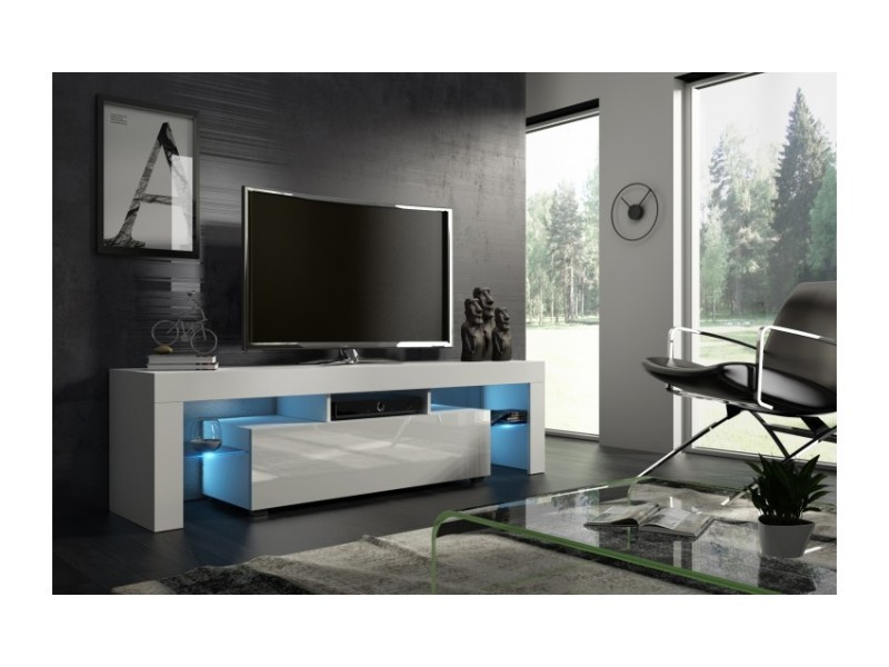 meuble tv blanc laque 160