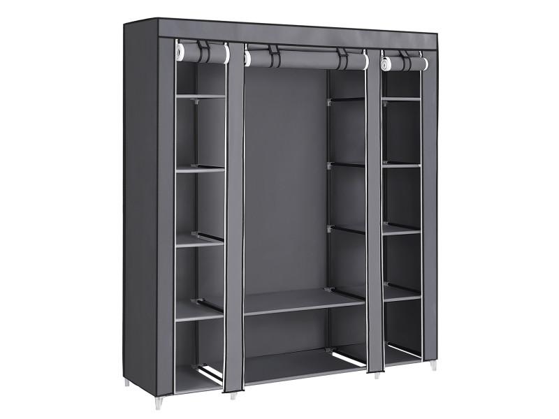 xxl armoire de rangement penderie dressing en tissu intisse gris 175 x 150 x 45 cm lsf03g songmics