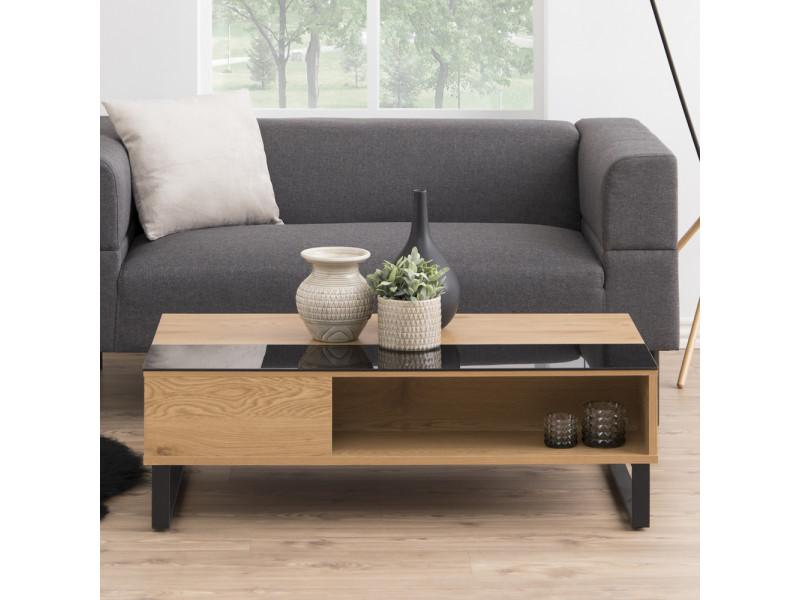 table basse kostrena 110x60 cm chene noir plateau relevable element en verre trempe