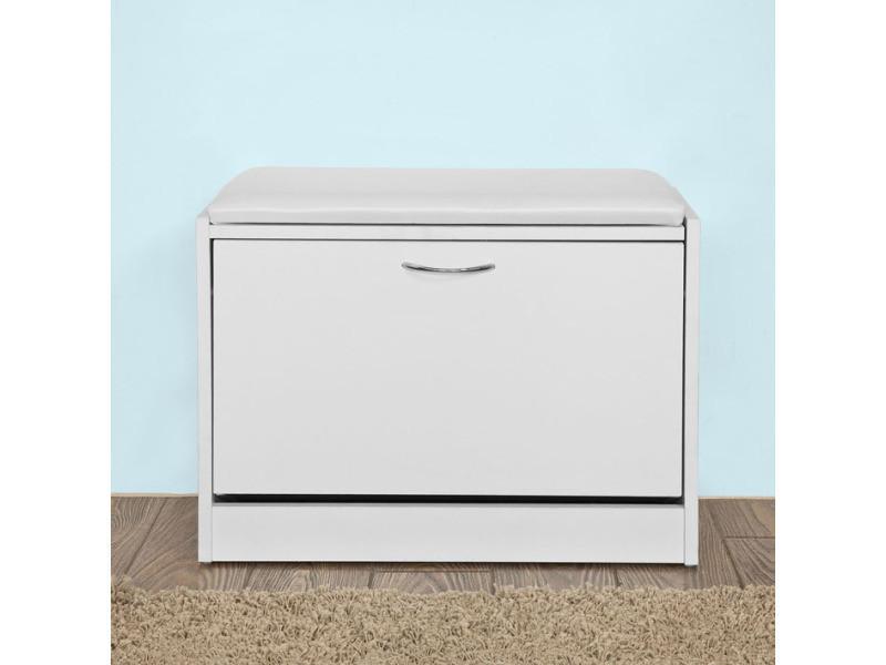 banc armoire a chaussures 1 abattant avec coussin coffre rangement pour chaussures blanc sobuy fsr16 w