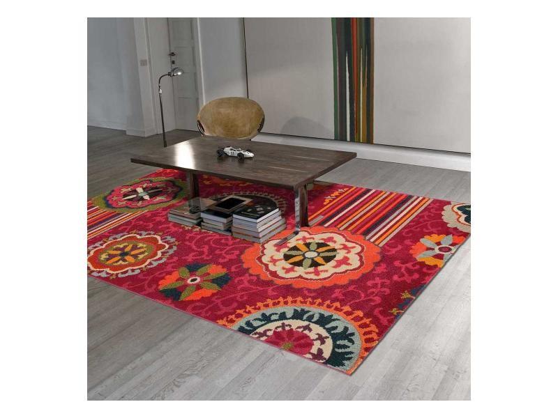 tapis design et moderne 160x230 cm rectangulaire tangeri 5 rose salon adapte au chauffage par le sol