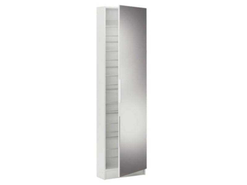 armoire a chaussures blanc perle avec miroir et 1 porte l 50 x p 20 x h 180 50 cm pegane