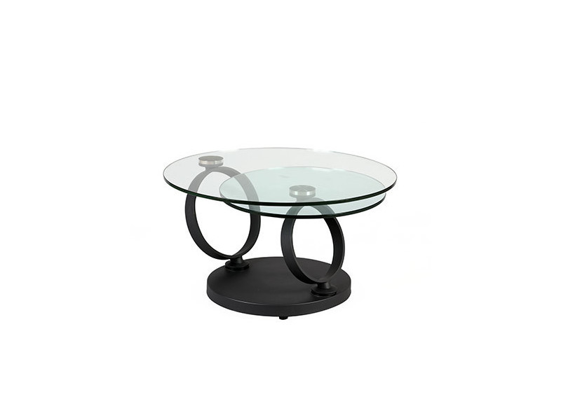table basse ronde en verre trempe et pied anthracite kandinsky