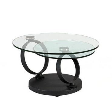table basse ronde en verre trempe et