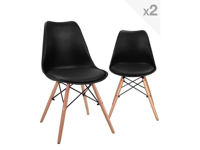 kayelles nasi lot de 2 chaises scandinave avec coussin pietement hetre 247 nasi noir vente de chaise conforama