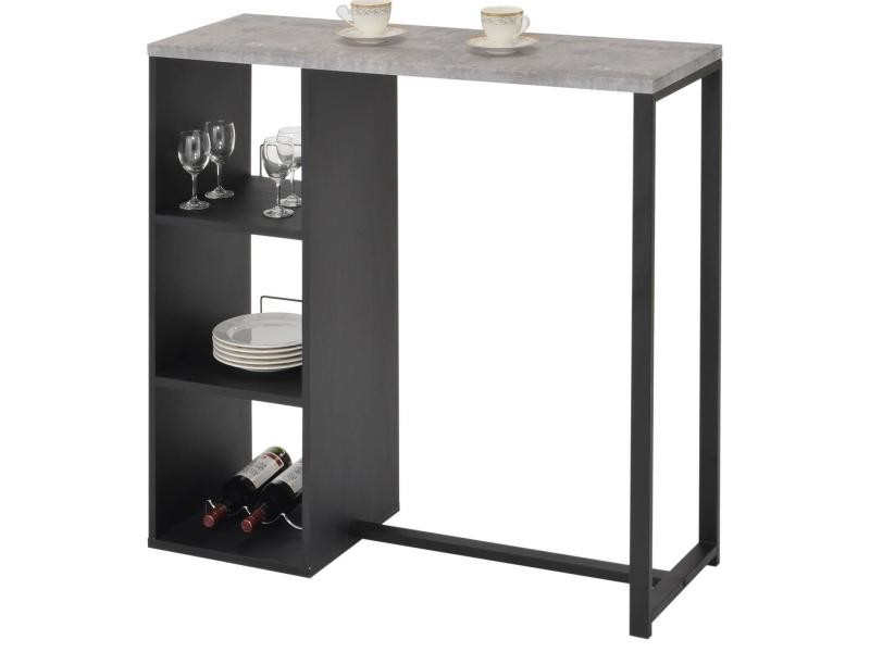 Table Haute De Bar Piava Mange Debout Comptoir Avec 3 Etageres Dont 1 Porte Bouteilles En Metal Laque Noir Et Mdf Decor Beton Vente De Idimex Conforama