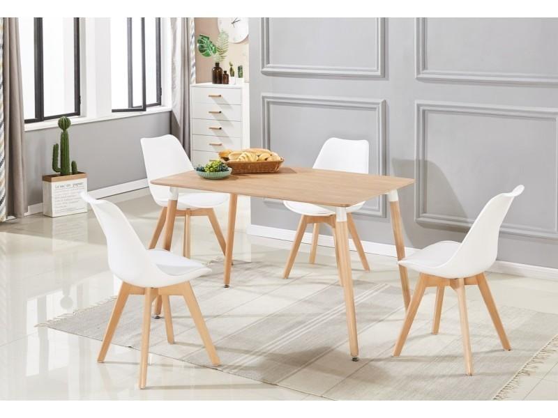 ensemble salle a manger moderne lorenzo table effet chene 4 chaises blanches design scandinave vente de home design international conforama