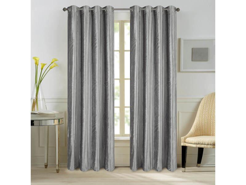 paire rideaux come velours gris anthracite dimensions 140x260cm