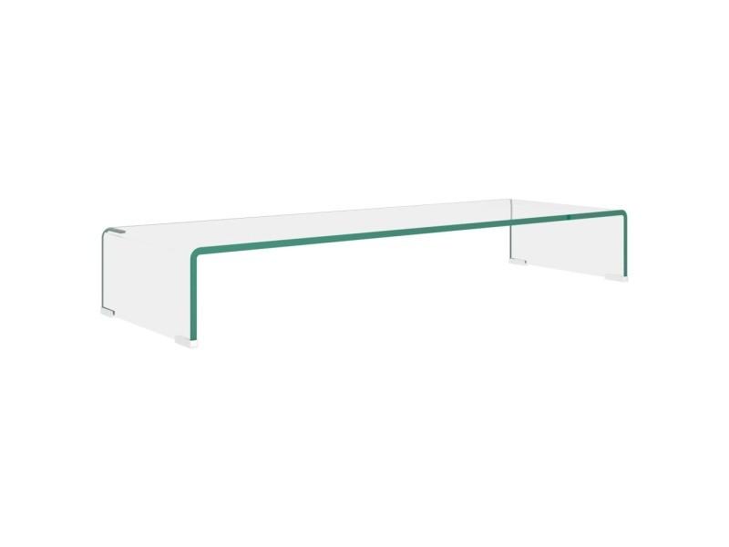 vidaxl meuble tv pour moniteur 90 x 30 x 13 cm verre transparent