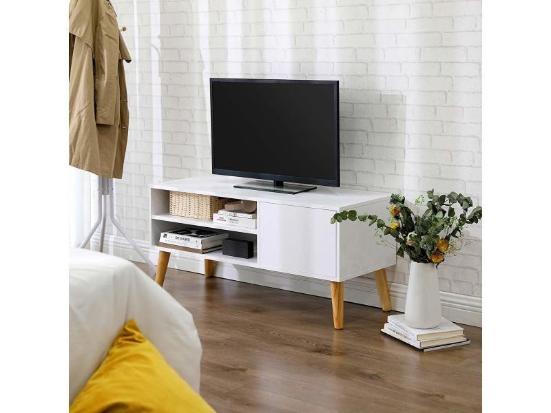 vasagle meuble tv buffet bas style scandinave pour television console de jeux dans salon salle de jeu bureau blanc ltv09wt