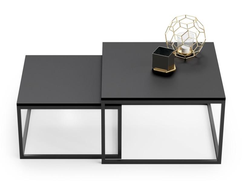 lot de 2 tables basses gigognes twin design industriel noir